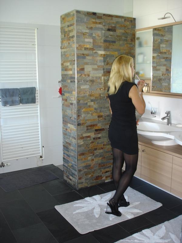 badezimmer mit natursteinwand badezimmer